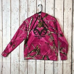RealTree Women's Pink Camo Pullover Hoodie Large